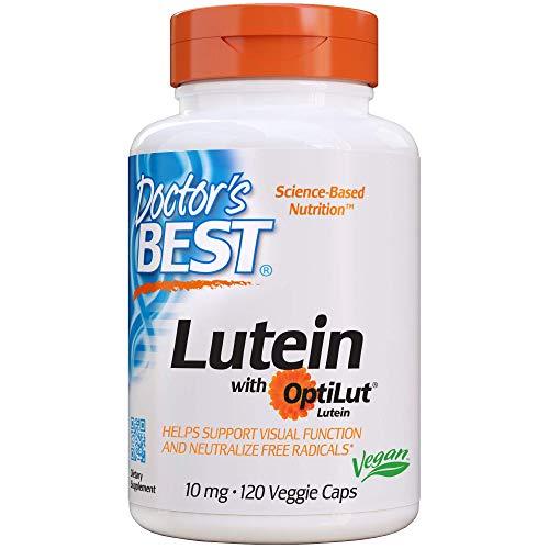 Doctor's Best Lutein with OptiLut, Non-GMO, Vegan, Gluten Free, Soy Free, Eye Health, 10 mg, 120 Veggie Caps (Doctors Best Best Lutein 120 Veggie Caps)