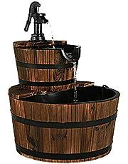 Giantex 2-Tier Barrel Waterfall Fountain with Hand Pump, Rustic Wood Barrel Cascading Water Fountain for Outdoor Garden Patio Backyard Porch
