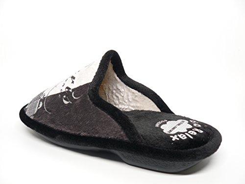 Zapatilla mujer para andar por casa BIORELAX - Grenoble color negro/gris - 4776 - 11 negro