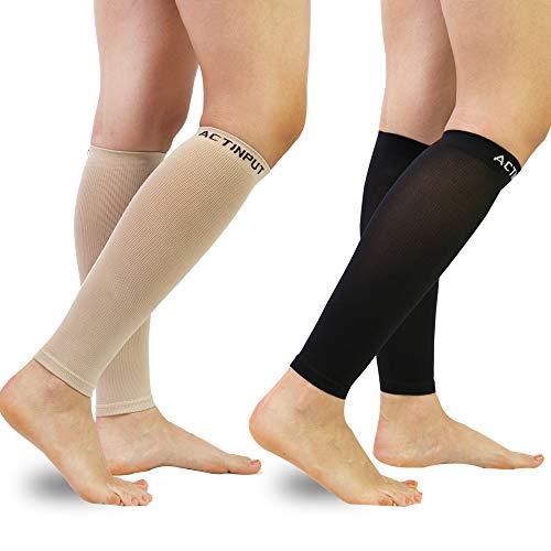 Compression Calf Sleeves (20-30mmHg) for Men & Women- Leg Compression Socks for Shin Splint,Running,Medical, Travel, Nursing (Black+Nude, X-Large)