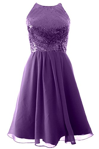 Chiffon Violett Dress Party MACloth Sequin Short Bridesmaid Halter Vintage Gown Formal vwwYqS76