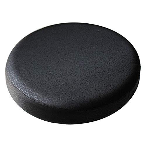 LOVIVER Bar Stool Seat Cushion Cover Bar Cotton Stool Cover Round Cushion Non-Slip Backing Elastic Band - Black_33x10cm