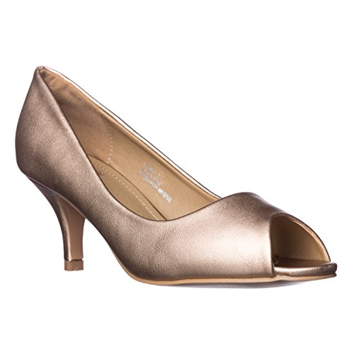 Riverberry Women's Lydia Open, Peep Toe Kitten Heel Pumps, Rose Gold PU, 8 ()