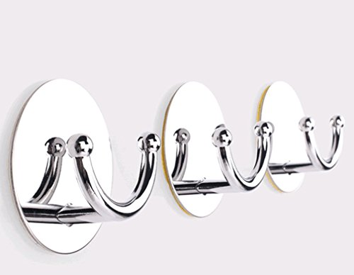 Modified Bathroom Self Adhesive Hook for Towel and Robe, Stainless Steel, 4 - Pieces