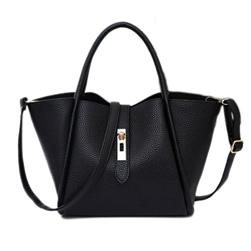 Color Scissor Women's Fashion PU Leather Shoulder Bags Tote Bags Top-Handle Handbag Black