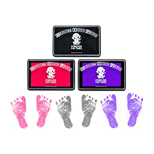 Baby Hand and Footprint Kit by Forever Fun Times | Get Hundreds of Detailed Prints with One Baby Safe Ink Pad | Easy to Clean, and Works with Any Paper or Card | Clean and Safe (G Bundle (Updated))
