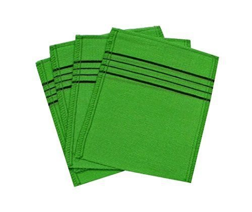 Korean Exfoliating Bath Washcloth  4 Pcs   Green  By Techef Home