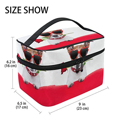 Cosmetic Day Rose Jack Russell Dog Large Double Zipper Bag