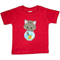inktastic - Kitty and The Fish Bowl, Cute Baby T-Shirt 12 Months Red 35a84