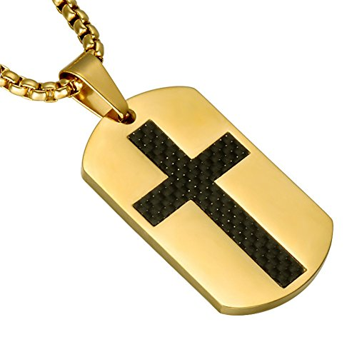 UNAPHYO Men's Stainless Steel Gold Plated Carbon Fiber Inlay Cross Dog Tag Necklace Pendant with 24 Inches Chain