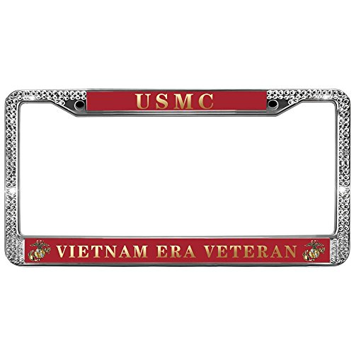 Auto License Plate Frame USMC VIETNAM ERA VETERAN US License Plate Frame Custom License Plate Frame Stainless Steel Premium Glass Crystal Diamond Fashion Frame for US Standard