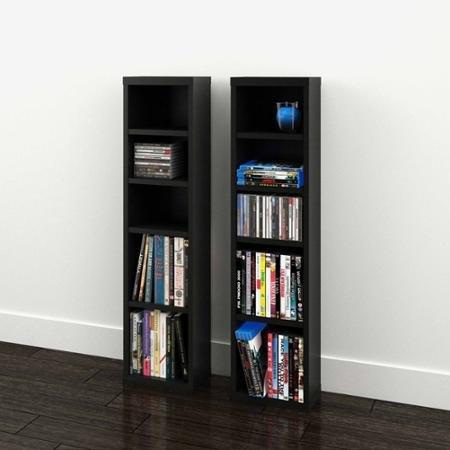 Modular Dvd (Sereni-T 4-Shelf Modular CD / DVD Storage Towers, Set of 2, Black)