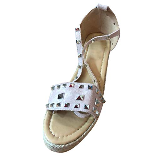 - Womens Summer Retro Roman Wedges Platform Sandals,Open Toe Buckle Strap Rivets Lightweight Outdoor Comfy Casual Shoes (Pink, US:7)