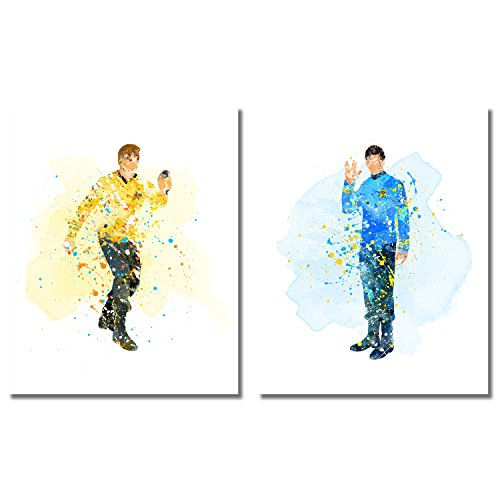 Star Trek Watercolor Prints - Set of two 8x10 Photos - Captain James Kirk and Mr Spock (Rooms To Go Mission Bedroom Set)