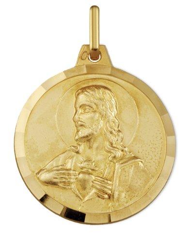 www.diamants-perles.com - Médaille Baptème - Médaille religieuse - Jesus Christ - Or Jaune - 750/1000
