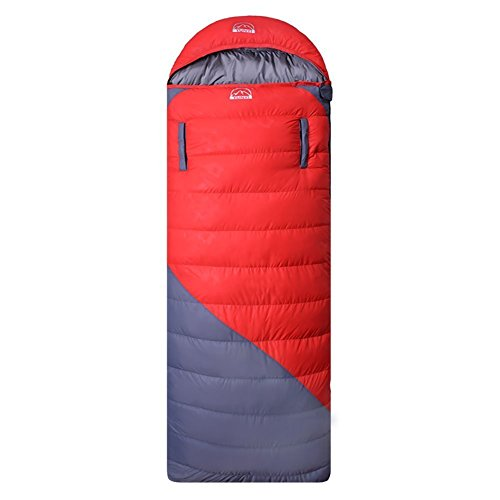 Hepburn's Lightweight Outdoor Camping 0 Degree 3 Season Duck Down Sleeping Bag, Ultralight Compression for Adults (Red)