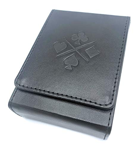 Luck Lab Single Deck Leather Playing Card Case/Holder - Black - Fits Poker and Bridge Size Cards (Card Playing Case Holder)