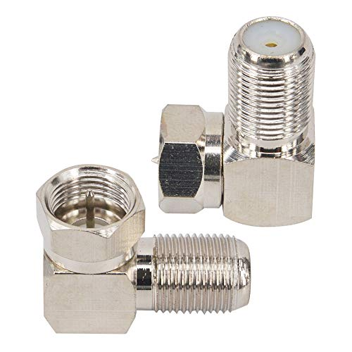 Nisaea F Type Coaxial Cable Right Angle Connector Male to Female Quick Connector Adapter for Tight Corners and Flat Panel TV Mounting - 90 Degree F Type Adapter for Coax Cable and Wall Plates 2 Pack