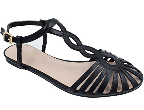 MaxMuxun Breathable T Strap Woven Black Closed Toe Sandals Size 6