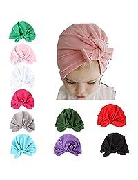 Guozyun Baby Girl Hats Soft Cute Turbans Headband Cap Beanie Hat for Newborn Infant Kids 8-10 Pcs