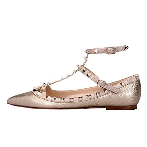 T Ballerina Pointed Shoes Shoes Classical Jushee Flat Women's Strap Studded Rivets Gold Toe ExYqv