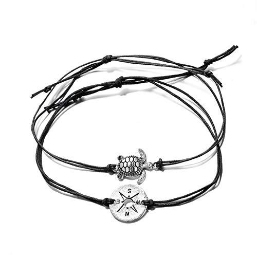GAJSDJHN Bracelet Beach Rope Metal Compass Turtle Bracelets Bangle Sets for Women Adjustable Anklet Foot Jewelry Three Color