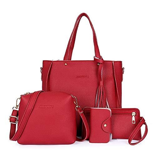 MinGe Women Fashion Handbags Tote Bag Shoulder Bag Top Handle Satchel Purse Set 4pcs