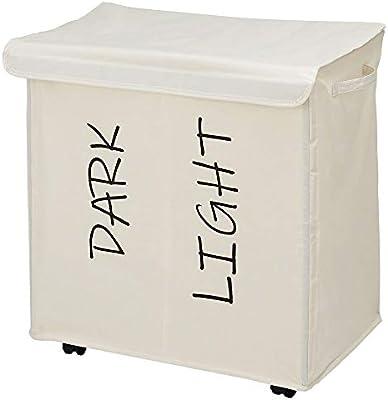 mDesign Canasto para ropa sucia con 2 compartimentos y tapa ...