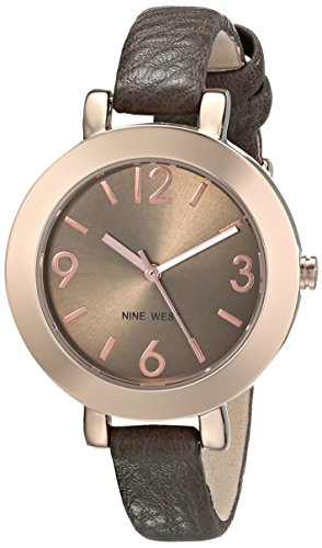 Nine West Women's NW/1319RGGY Round Rose Gold-Tone Brown Strap Watch