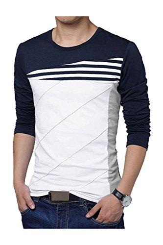 Maenner T-Shirt - SODIAL(R) Maenner Farbe Blockstreifen T-Shirt blau Asien XL