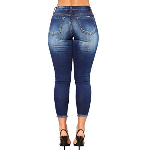 POTTOA De Stretch Pantalon Femme Crayon Skinny Femmes Camouflage Slim Denim Haute Blue Dechir Slim Taille Femme Fitness Femme Pantalon Trousers Legging Fluide Pantalon Jeans Trou Femme Pantalon pO8vnp