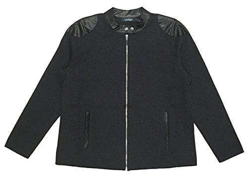 Trim Knit Jacket (Lauren Ralph Lauren Plus Size Stretch Cotton Knit Moto Jacket/Faux Leather Trim (3X, Dark Gents Heather))