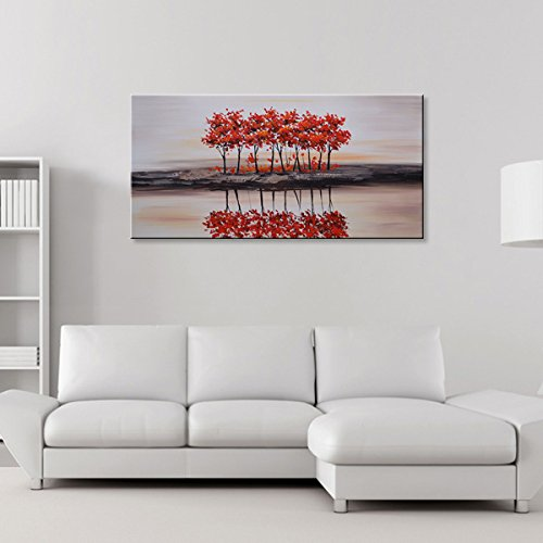 Seekland Art Handmade Modern Artwork Abstract Oil Painting Landscape Wall Decoration Picture Red Tree Canvas Art Framed Ready to Hang