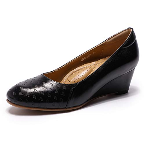 Mona flying Womens Leather Pumps Dress Shoes Med Heel Rounded Toe High Heels for Women Office Wedding (Flying Sheep)