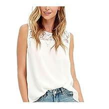 Anxinke Sleeveless Chiffon Shirts, Women Casual Soft Lace Tank Tops