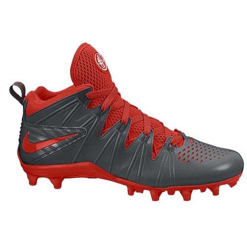 Nike Mens Huarache 4 LAX Lacrosse Cleats (Grey-Red, 10)