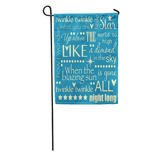 Semtomn Garden Flag Yellow Twinkle Little Star Nursery Rhyme Word Pastel Blue Home Yard House Decor Barnner Outdoor Stand 12x18 Inches Flag