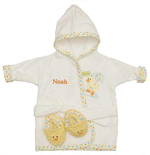PERSONALIZED Monogrammed Ducky the Duck Hooded Bath Robe & Slipper Set Sz 0-9 Mo
