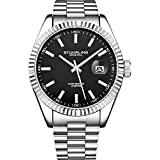 Stuhrling Original Men's Symphony Regent Coronet Stainless Steel Bracelet Watch (Black/Black)