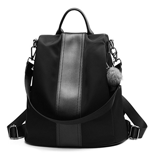 Women Backpack Purse Nylon Anti-theft Casual Covertible Shoulder Bag Lightweight Water Resistant School Bag (Black) by Cheruty