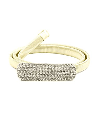 uxcell Gold Tone Metal Rectangle Interlacking Buckle Elastic Waist Chain for (Ladies Metal Chain Belt)