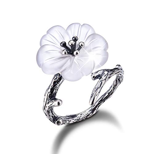 Lotus Fun S925 Sterling Silver Rings Flower in The Rain Open Crystal Ring Handmade Jewelry Unique Gift for Women and Girls (Antique Silver)