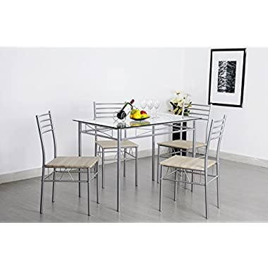 Krasavic Kitchen Dining Room Dinette Table Chairs Set for 4 with Glass Top