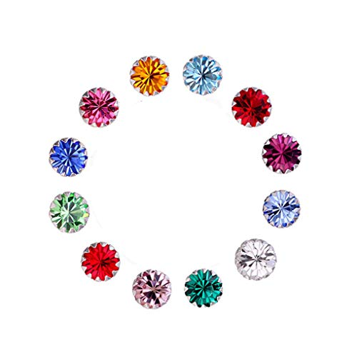Amaer 925 Sterling Silver Birthstone Studs Earrings for Teen Girls Tiny Crystals Earrings (December)