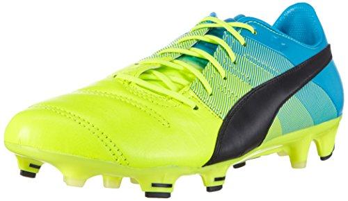 PUMA Evopower 1.3 Leather FG Boots - Adult - Yellow/Black/Blue - UK Shoe Size 9