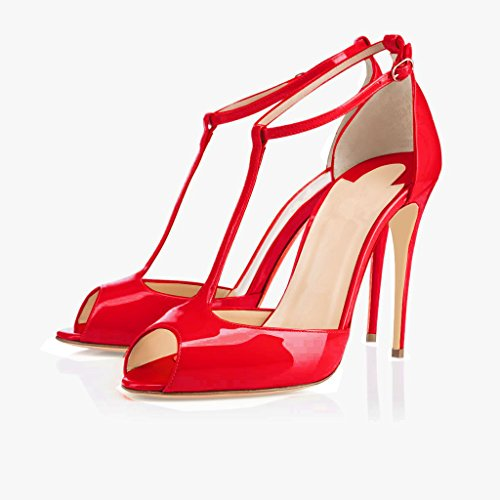 Pumps Womens Buckle Dress Wedding strap Red Heel Ankle T High Sandals Toe Peep Shoes 10cm elashe RxFTHwq1q
