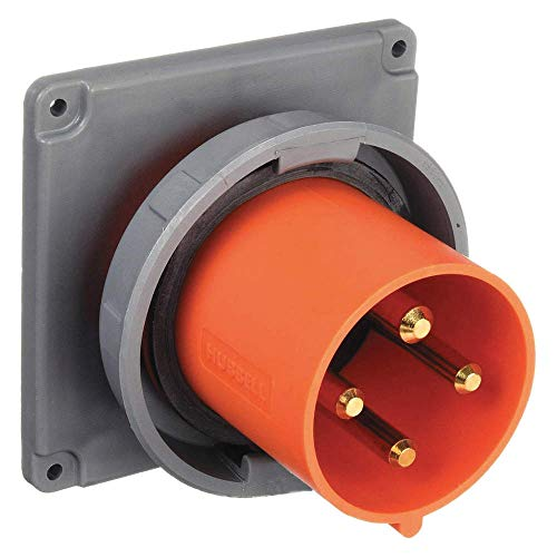 Pin Watertight Wiring (Hubbell Wiring Device-Kellems HBL4100B12W Zytel 101 Nylon Watertight Pin and Sleeve Inlet Orange 100A)