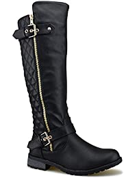 Women's Quilted Side Zip Knee High Flat Riding Boots -...