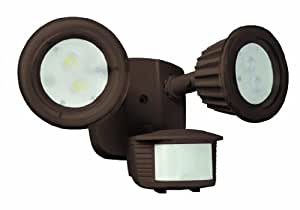 Designers Edge L6015BR 180-degree Motion Activated Twin LED Flood Light with Adjustable Settings, Bronze