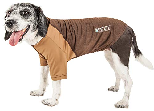 (Pet Life Active 'Hybreed' 4-Way Stretch Two-Toned Performance Dog T-Shirt, X-Large, Brown)